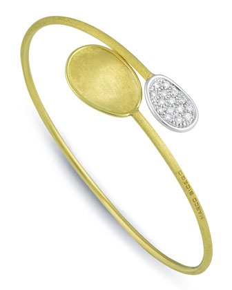 Lunaria 18k Engraved Diamond Bangle