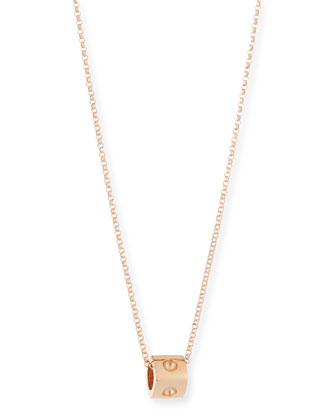 18K Rose Gold Mini Pois Moi Cube Necklace
