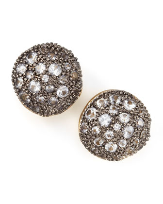 Gold Pave Sapphire Stud Earrings