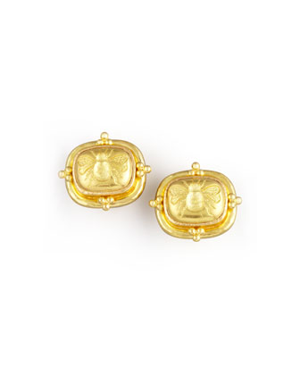 19k Gold Bee Clip/Post Earrings