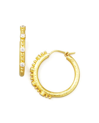 Giant Diamond 19k Gold Hoop Earrings