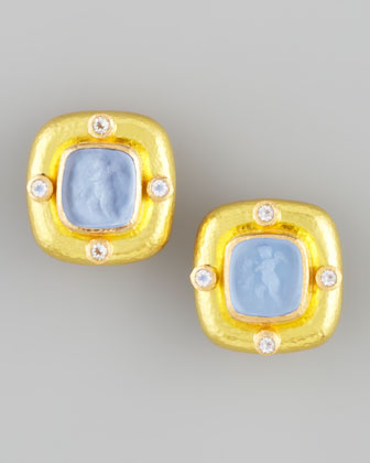 Putto Intaglio Clip/Post Earrings, Cerulean