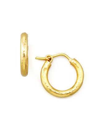 Big Baby Hammered 19k Gold Hoop Earrings, 1/2