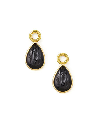 Black Intaglio 19k Gold Teardrop Earring Pendants