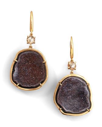 Geode & Diamond Drop Earrings