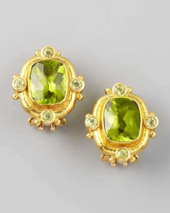 Peridot 19k Gold Clip/Post Earrings