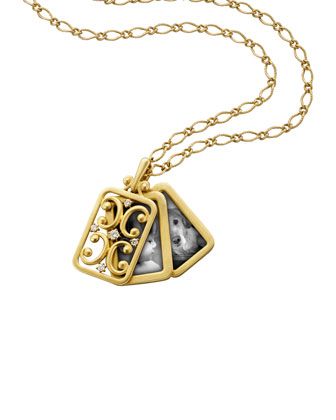 18k Gold Rectangular Gate Pendant Necklace