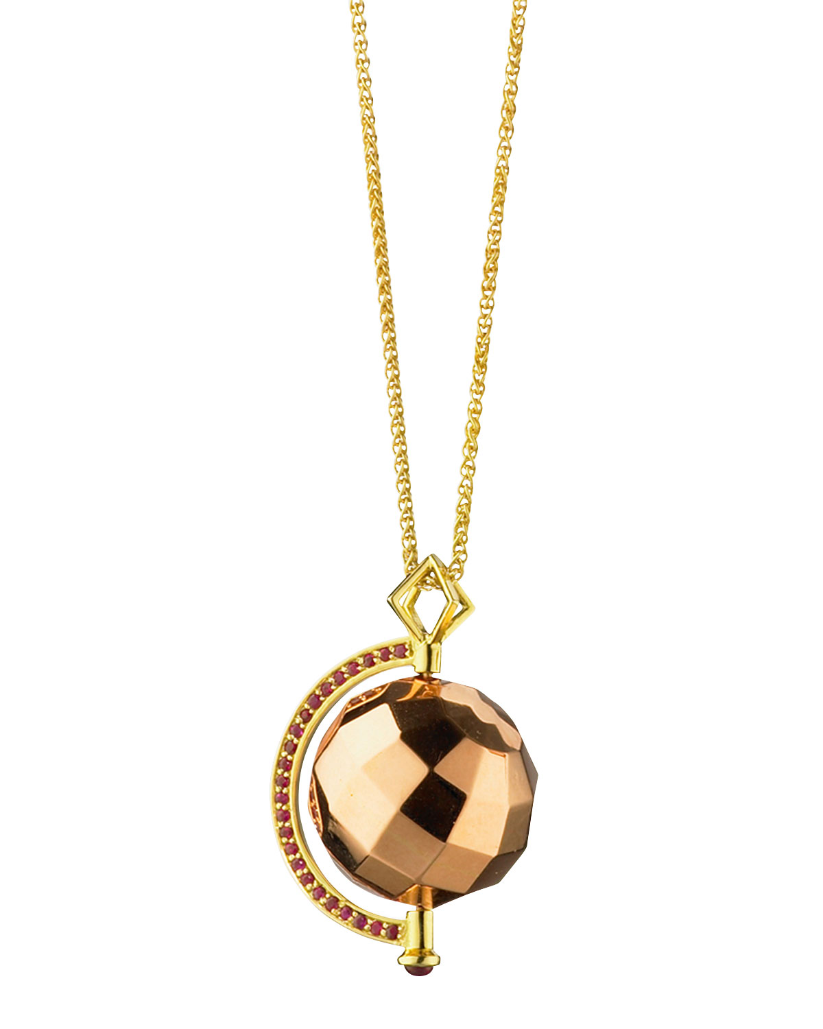 Passion Rose Gold Mars Ruby Pendant Necklace