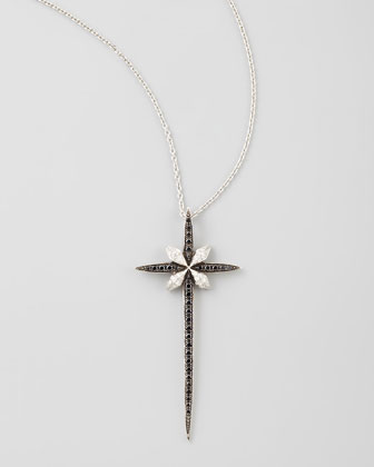 Belle ??poque 18kt Diamond Skinny Cross Pendant Necklace, Black/White