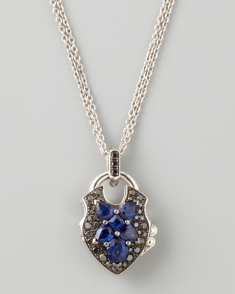Belle Epoque 18kt Padlock Diamond Sapphire Pendant Necklace