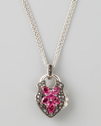 Belle Epoque 18kt Padlock Diamond Rubelite Pendant Necklace