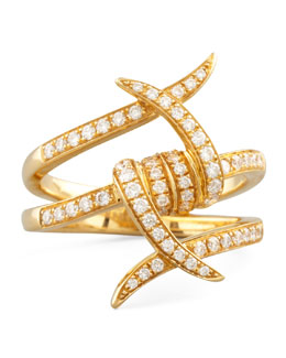 Stephen Webster Forget-Me-Knot Yellow Gold Diamond Barbed Wire Ring