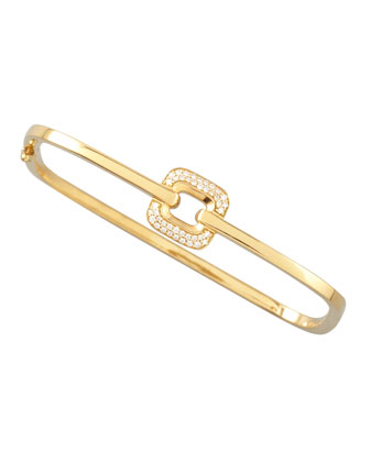 Piece 18k Gold Diamond Station Square Bangle