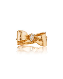 Mimi So Bow Small 18k Rose Gold Diamond Ring