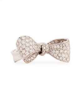 Mimi So Bow Medium 18k White Gold Diamond Ring