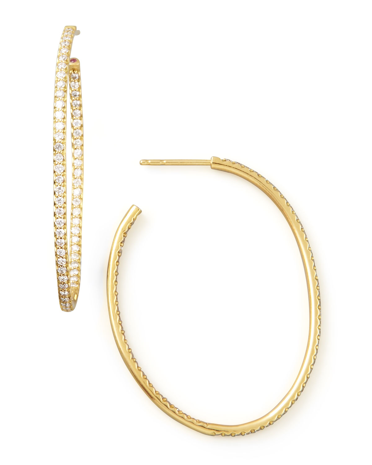 Yellow Gold Diamond Oval Hoop Earrings