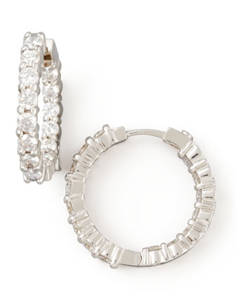 23mm White Gold Diamond Hoop Earrings, 1.97ct