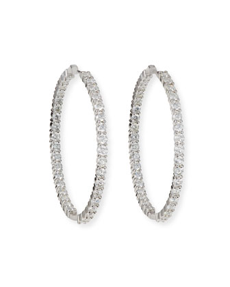 46mm White Gold Diamond Hoop Earrings, 7.57ct