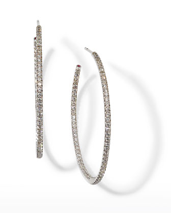 45mm White Gold Diamond Hoop Earrings, 1.4ct