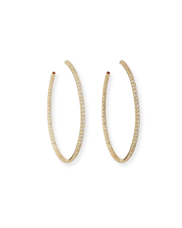 45mm Yellow Gold Diamond Hoop Earrings, 1.4ct   Roberto Coin   Yellow (45mm ,