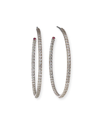 35mm White Gold Diamond Hoop Earrings, 1.1ct