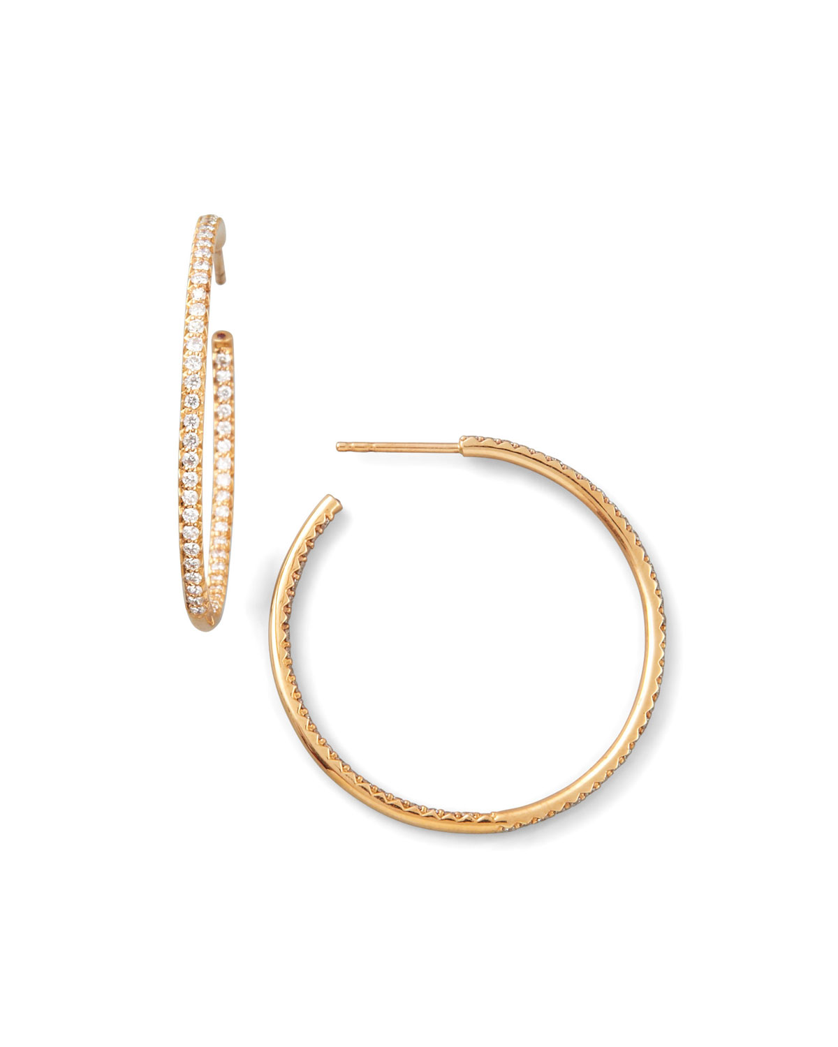35mm Rose Gold Diamond Hoop Earring, 1.1ct