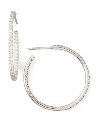 30mm White Gold Diamond Hoop Earrings, 0.98ct