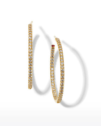 30mm Yellow Gold Diamond Hoop Earrings, 0.98ct