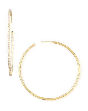 55mm Yellow Gold Diamond Hoop Earrings, 2.ct
