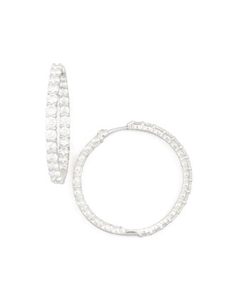 35mm White Gold Diamond Hoop Earrings, 5.55ct