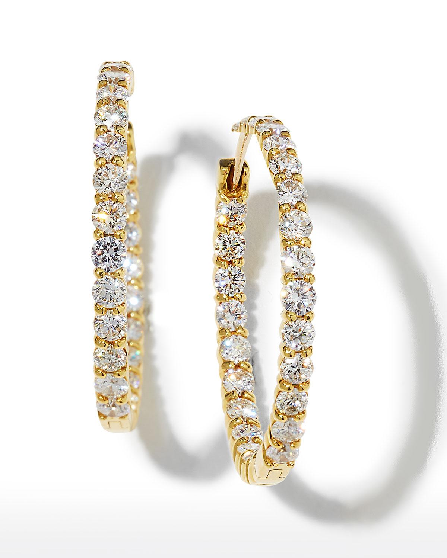 35mm Yellow Gold Diamond Hoop Earrings, 5.55ct   Roberto Coin   Yellow (35mm ,