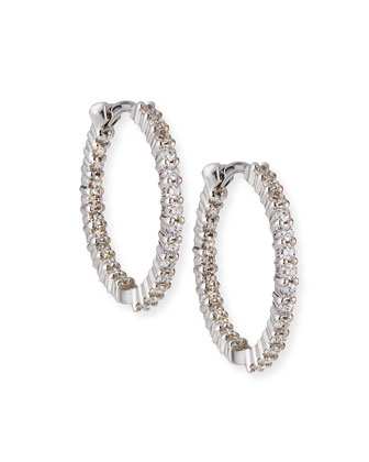 22mm White Gold Diamond Huggie Hoop Earrings, 1ct