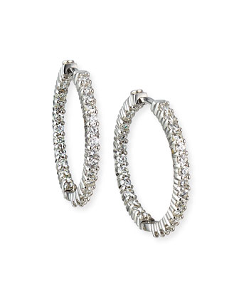 25mm White Gold Diamond Hoop Earrings, 1.53ct