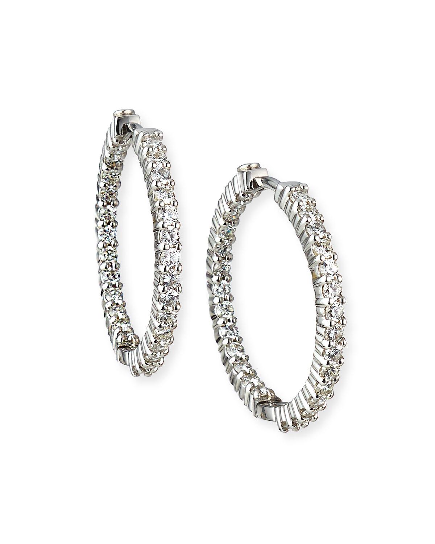 25mm White Gold Diamond Hoop Earrings, 1.53ct