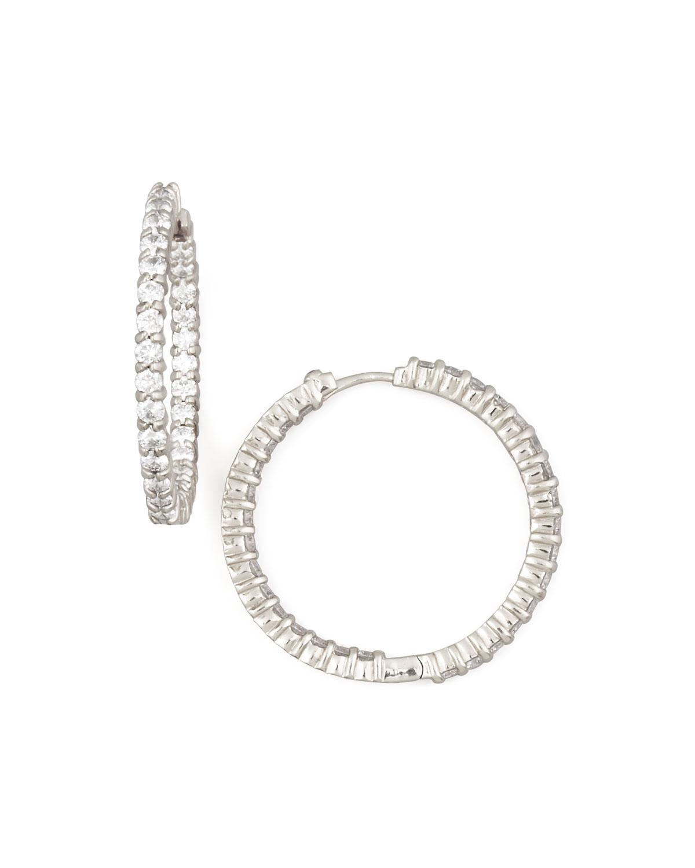 30mm White Gold Diamond Hoop Earrings, 2.84ct