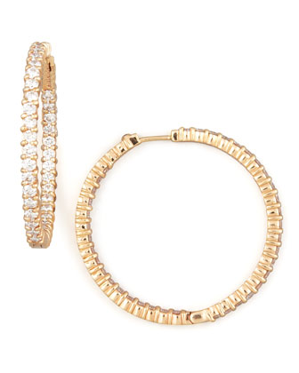38mm Rose Gold Diamond Hoop Earrings, 2.46ct