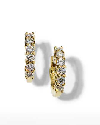13mm Yellow Gold Diamond Hoop Earrings, 0.7ct