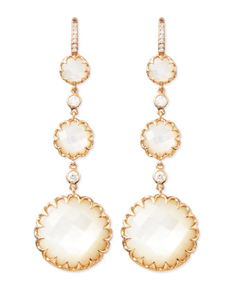 Long Rose Gold Mother-of-Pearl Drop Earrings with Diamonds