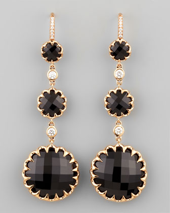 Long Rose Gold Black Onyx and Diamond Drop Earrings on Diamond French ...