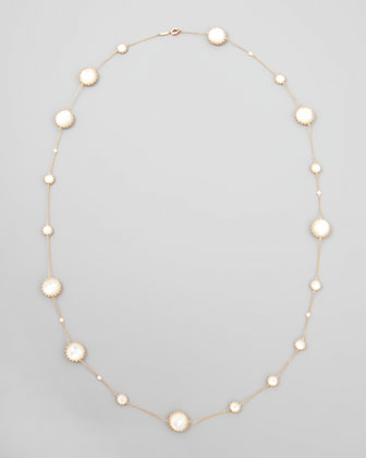 Rose Gold Chain with Mother-of-Pearl and Diamonds, 36