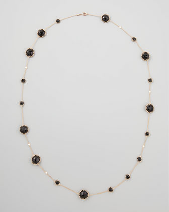 Rose Gold Chain with Black Onyx and Diamonds, 36