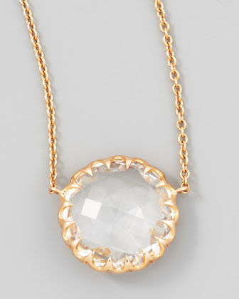 Rose Gold Chain Rock Crystal Pendant Necklace, 16