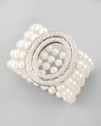 Five-Strand Freshwater Pearl Bracelet with Signature Oval Diamond Clasp