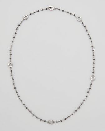 Black Diamond Briolette Necklace with Extra Small Diamond Signature Ovals, 18