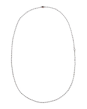 Black Diamond Briolette Necklace with Diamond Signature Oval, 36