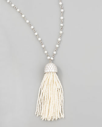 Seed Pearl Tassel Necklace, 36
