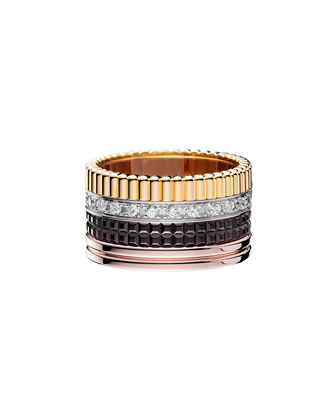 Classic Quatre 18k Gold Large Diamond Band Ring, Size 7