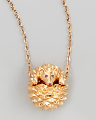 18k Pink Gold Herisson Hedgehog Pendant Necklace