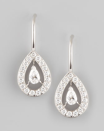 Ava 18k White Gold Diamond Pear Earrings, 1.06 TCW