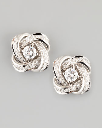 Ava 18k White Gold Diamond Pivoine Earrings, 0.62 TCW